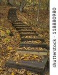 A Wooden Step Trail Up A Hill...