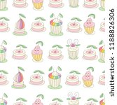 cupcakes seamless vintage... | Shutterstock .eps vector #1188826306