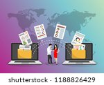 file transfer. two laptops with ... | Shutterstock .eps vector #1188826429