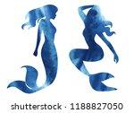 mermaid watercolor silhouette...   Shutterstock . vector #1188827050
