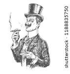 elegant gentleman in top hat... | Shutterstock .eps vector #1188835750