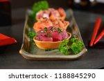 chopped raw salmon  tuna and... | Shutterstock . vector #1188845290