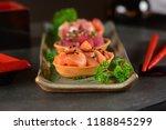 chopped raw salmon  tuna and... | Shutterstock . vector #1188845299