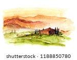 toscana landscape. wattercolor... | Shutterstock . vector #1188850780