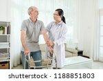 doctor vising handicapped... | Shutterstock . vector #1188851803