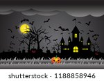 happy halloween  pumpkins and... | Shutterstock .eps vector #1188858946