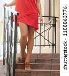 female legs going downstairs.... | Shutterstock . vector #1188863776