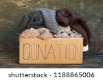 donation box with warm things... | Shutterstock . vector #1188865006