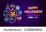 happy halloween neon banner... | Shutterstock .eps vector #1188868846