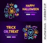halloween neon website banners. ... | Shutterstock .eps vector #1188869119