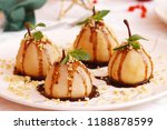 wine poached pears with...   Shutterstock . vector #1188878599