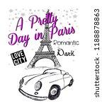 pretty paris for t shirt | Shutterstock . vector #1188878863