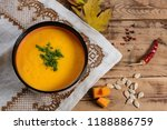 flat lay bowl of pumpkin soup... | Shutterstock . vector #1188886759