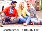 happy multiracial friends... | Shutterstock . vector #1188887140