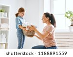beautiful young woman and child ... | Shutterstock . vector #1188891559