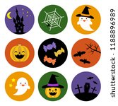 set of halloween icons   vector ...
