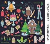 pack of cute christmas... | Shutterstock .eps vector #1188903436