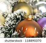 Multicolored Christmas ornaments baubles - Christmas background - stock photo