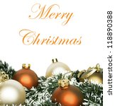 Christmas concept with colorful ornaments isolated on white background - stock photo