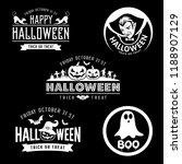 happy halloween black and white ... | Shutterstock .eps vector #1188907129