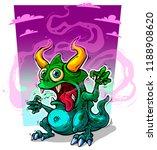 cartoon funny crazy green... | Shutterstock .eps vector #1188908620