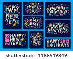 happy new year 2019  merry... | Shutterstock .eps vector #1188919849