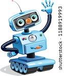 cartoon robot waving his hand.... | Shutterstock .eps vector #1188919993