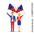 czech republic flag waving man... | Shutterstock .eps vector #1188951949