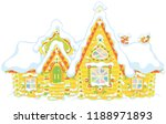 colorfully decorated log house... | Shutterstock .eps vector #1188971893