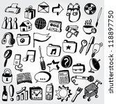 collection of doodled icons | Shutterstock .eps vector #118897750
