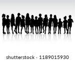 dancing children silhouettes. | Shutterstock .eps vector #1189015930