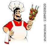arabi  chef with kebab in hands....   Shutterstock .eps vector #1189020820