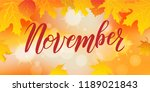 hand sketched november text.... | Shutterstock .eps vector #1189021843