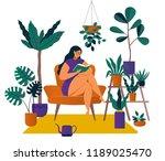 urban jungle  trendy home decor ... | Shutterstock .eps vector #1189025470