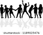 dancing children silhouettes. | Shutterstock .eps vector #1189025476
