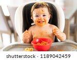 child girl  eating spaghetti... | Shutterstock . vector #1189042459