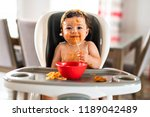 child girl  eating spaghetti... | Shutterstock . vector #1189042489