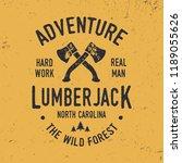 lumberjack typography. textured ... | Shutterstock .eps vector #1189055626