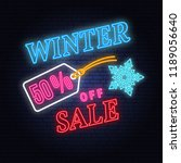 winter sale neon sign with... | Shutterstock .eps vector #1189056640