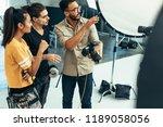 photographer explaining about... | Shutterstock . vector #1189058056