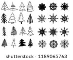 doodle hand drawn christmas... | Shutterstock .eps vector #1189065763