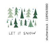 let it snow flakes fall doodles ... | Shutterstock .eps vector #1189065880