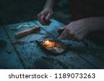 fire making in the wild ... | Shutterstock . vector #1189073263