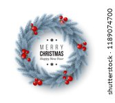 christmas wreath with realistic ... | Shutterstock .eps vector #1189074700
