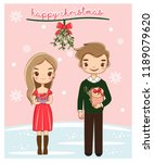 cute romantic couple with gifts ... | Shutterstock .eps vector #1189079620