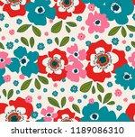 seamless floral retro pattern | Shutterstock .eps vector #1189086310