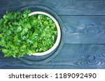 a bunch of parsley on a cutting ... | Shutterstock . vector #1189092490