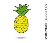 pineapple with shadow | Shutterstock .eps vector #1189115479