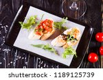 bruschetta with black caviar... | Shutterstock . vector #1189125739