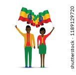 ethiopia flag waving man and... | Shutterstock .eps vector #1189129720